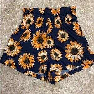 SHEIN Shorts - Paper bag Sunflower Shorts